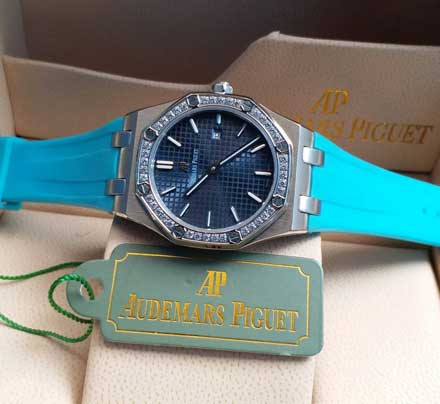 AP RO ladies leather rubber mesin batre 34mm13 Jam Tangan Audemars Piguet AP Wanita Permata