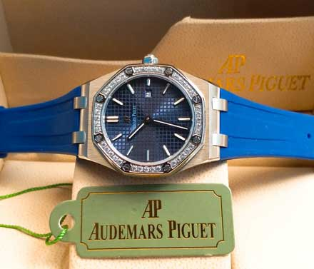 AP RO ladies leather rubber mesin batre 34mm15 Jam Tangan Audemars Piguet AP Wanita Permata