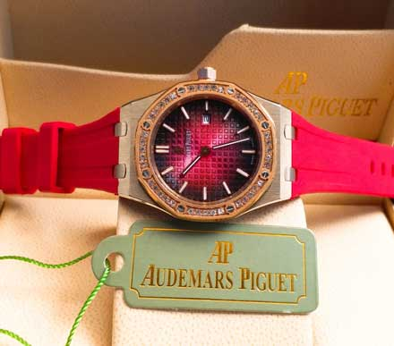 AP RO ladies leather rubber mesin batre 34mm18 Jam Tangan Audemars Piguet AP Wanita Permata