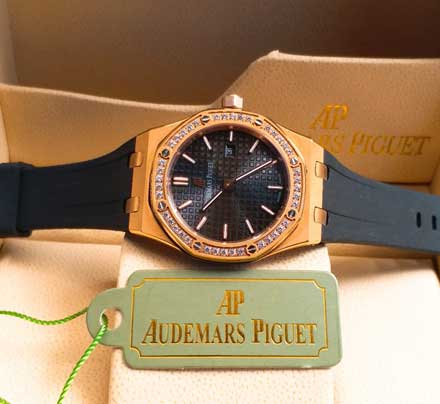AP RO ladies leather rubber mesin batre 34mm19 Jam Tangan Audemars Piguet AP Wanita Permata