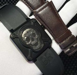 Jam Tangan Bell & Ross Skull Rubber Free Leather KW Super Premium