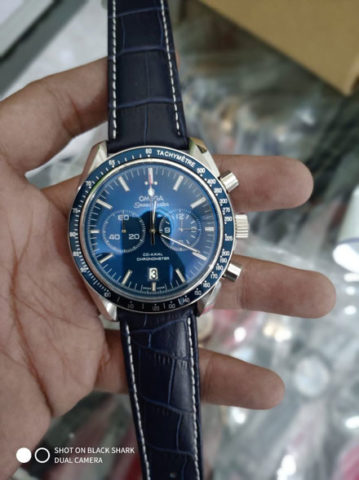Omega speedmaster leather blue silver 45mm 790.000 359x480