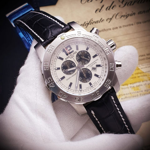 Breitling Navytimer leather silver putih 4.6cm
