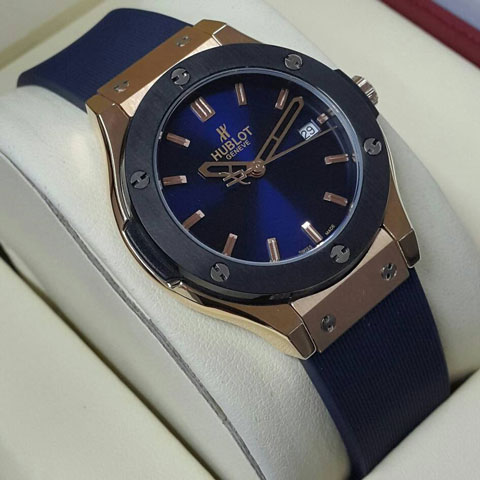 Hublot Bigbang Ledies rubber body rosegold 34mm biru