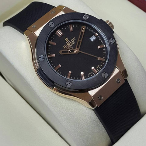 Hublot Bigbang Ledies rubber body rosegold 34mm hitam