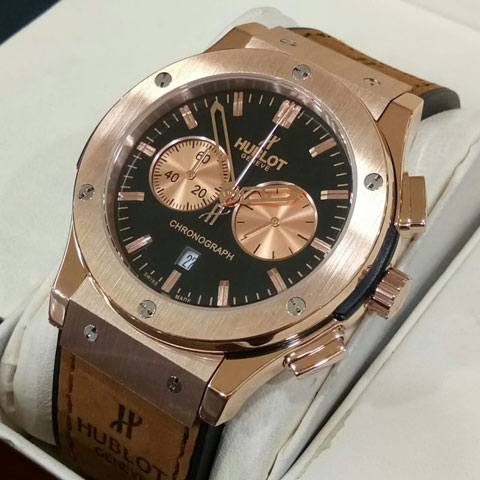 Hublot bigbang leather brown rosegold 4 5cm 740 Jam Tangan Hublot Vendome Pria Tali Kulit II