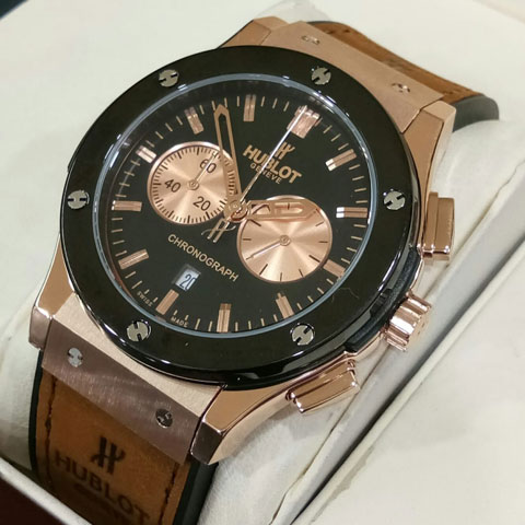 Hublot bigbang leather brown rosegold 4 5cm1 Jam Tangan Hublot Vendome Pria Tali Kulit II