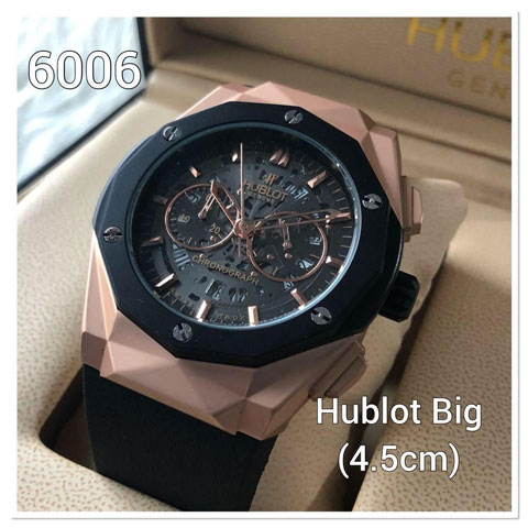 Hublot stone prism rubber rosegold black 46mm
