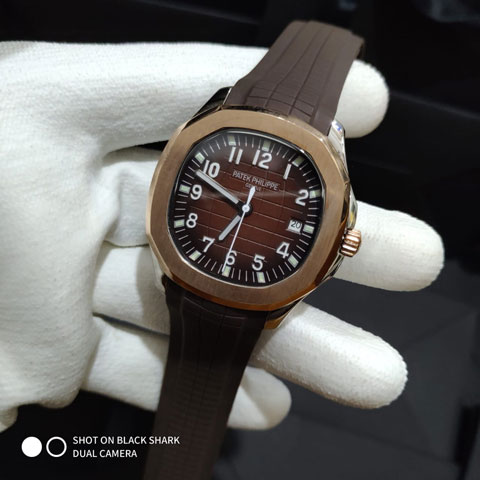 Patek philippe nautilus rubber brown silver combimatic 4.4cm 1.060.000