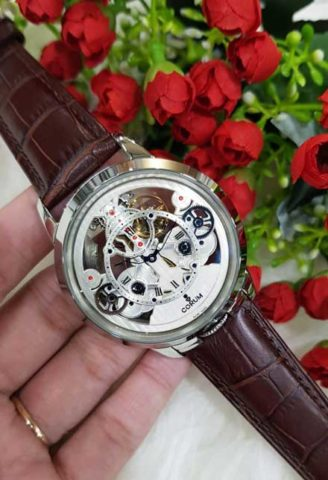 CORUM Matic For Man 45mm Strap Leather warna silver coklat 328x480