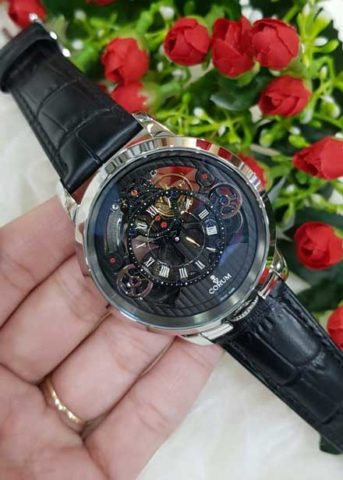 CORUM Matic For Man 45mm Strap Leather warna silver hitam 343x480
