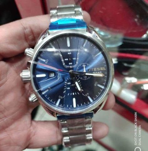 Diesel the brave silver blue 47mm 473x480