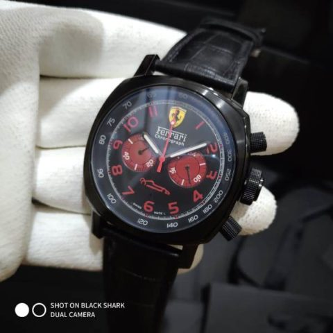 Ferrari scuderia chronograph leather black red 4.6cm 480x480