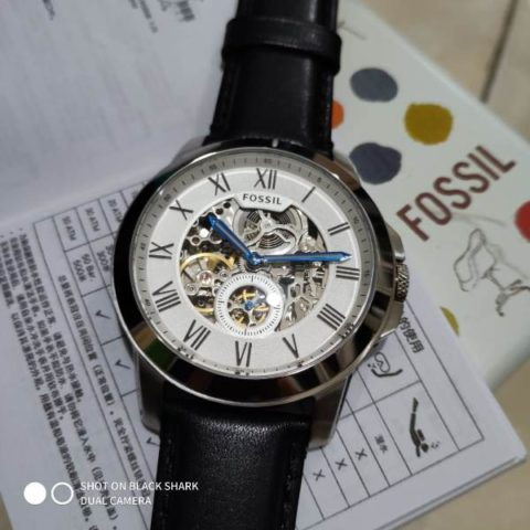Fossil 3035 leather black silver matic 42mm 480x480