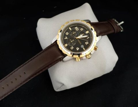 Fossil chrono leather silver gold hitam 480x373