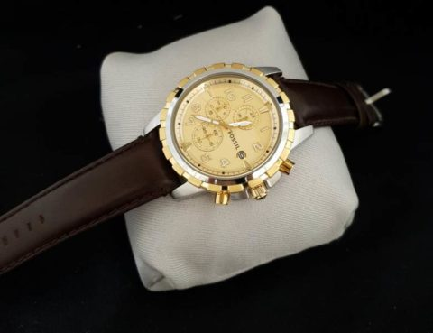 Fossil chrono leather silver gold kuning 480x369