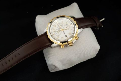 Fossil chrono leather silver gold white 480x322