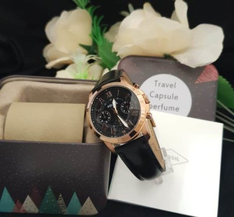 Fossil grant ladies leather hitam rosegold 480x445