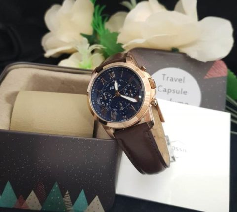 Fossil grant ladies leather rosegold coklat 480x431