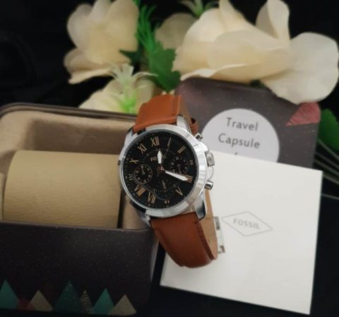 Fossil grant ladies leather silver coklat 480x449