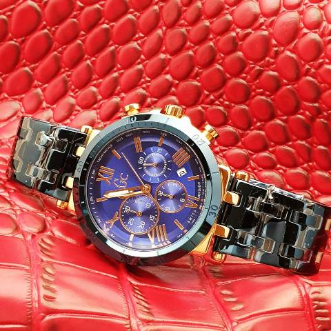 Gc Guess Collection men stainless chrono 4.6 cm hitam rosegold purple