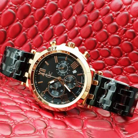 Gc Guess Collection men stainless chrono 4.6 cm hitam rosegold
