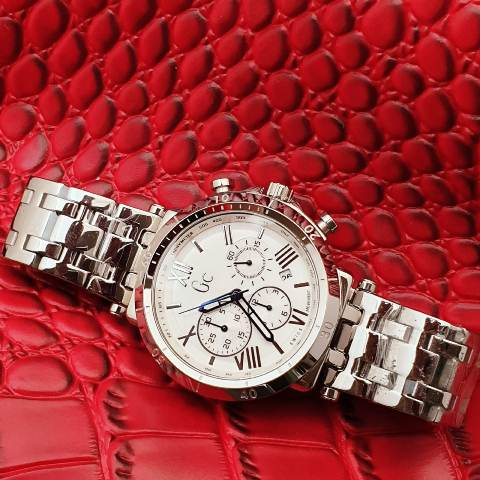Gc Guess Collection men stainless chrono 4.6 cm silver putih