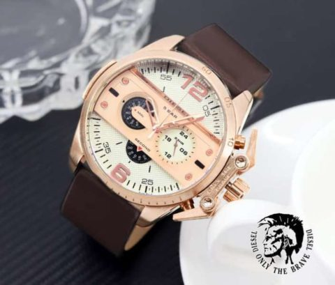diesel twins chrono leather coklat rosegold 480x409