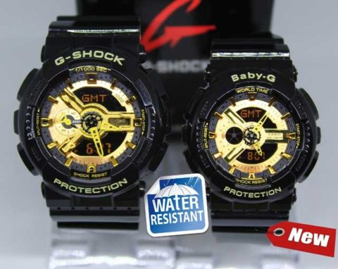 G shock couple ga 110 double colour anti air warna hitam gold 480x382