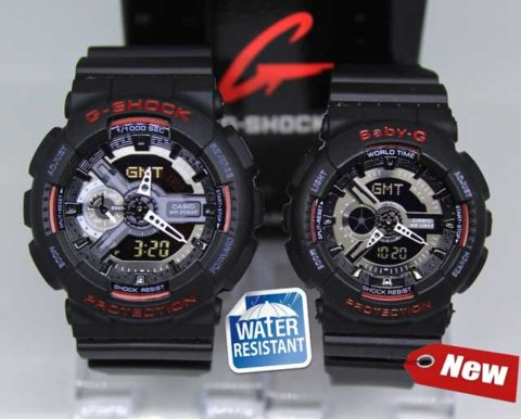 G shock couple ga 110 double colour anti air warna hitam list merah 480x386
