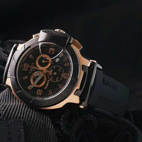 Tissot T Race Racing 4.5 cm Stainless steel Choronograph rubber strap black rosegold