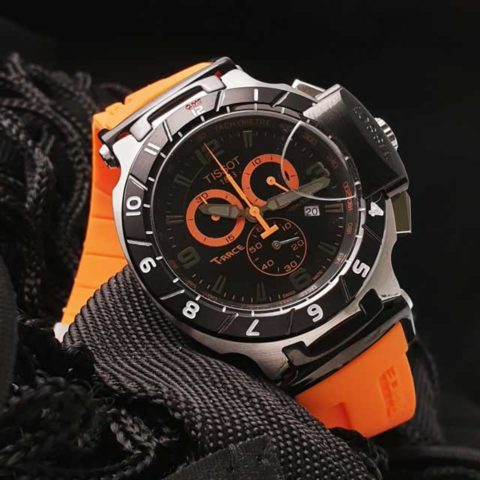 Tissot T Race Racing 4 5 cm Stainless steel Choronograph rubber strap orange 480x480 Jam Tangan Tissot T Race Rubber II KW Super Grade AAA