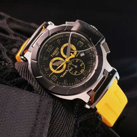 Tissot T Race Racing 4.5 cm Stainless steel Choronograph rubber strap yellow