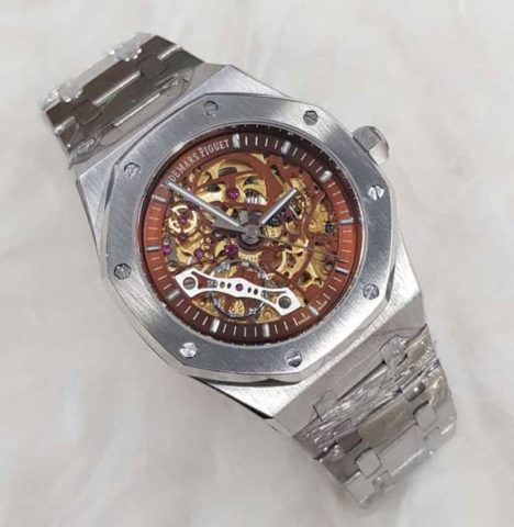 AP AUDEMARS PIGUET skeleton silver matic 4 4cm list coklat 468x480 Jam Tangan Audemars Piguet Skeleton Matic Chain II