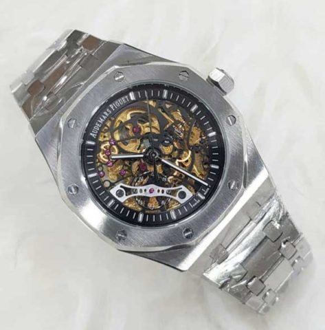 AP AUDEMARS PIGUET skeleton silver matic 4 4cm list hitam 473x480 Jam Tangan Audemars Piguet Skeleton Matic Chain II