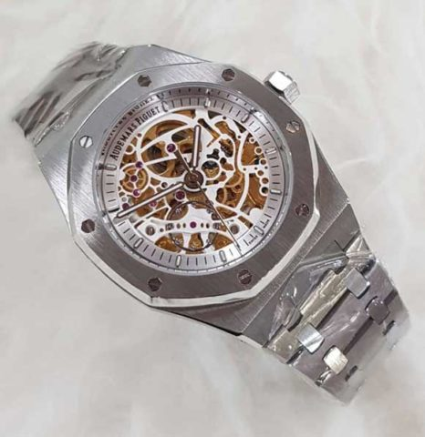 AP AUDEMARS PIGUET skeleton silver matic 4 4cm list putih 466x480 Jam Tangan Audemars Piguet Skeleton Matic Chain II