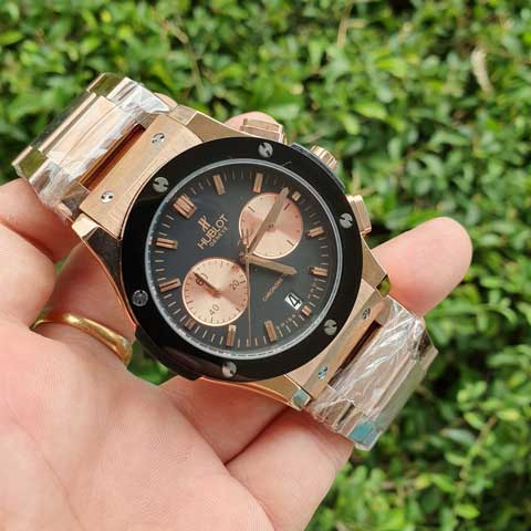 Hublot men bigbang chronometer rosegold black stainless 4 5cm Jam Tangan Hublot Bigbang Chronometer Chain