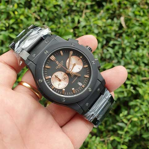 Hublot men bigbang chronometer rosegold stainless Jam Tangan Hublot Bigbang Chronometer Chain