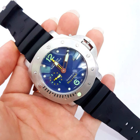 Panerai luminor submersible pole rubber silver matic 4.8cm 480x480
