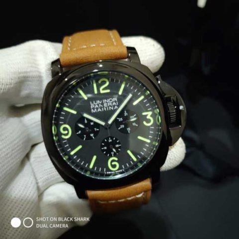 Panerai marina luminor leather brown black batre 4 6cm 480x480 Jam Tangan Luminor Panerai Marina Leather Brown Green Number