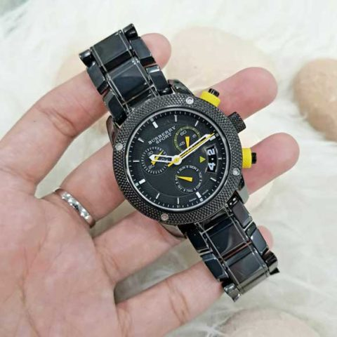 BURBeRRY SPORT Black yellow Super Batrai For Ladies Full Ceramic Mesin Swiss diameter 38mm