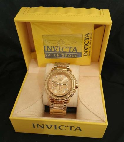 Invicta BOLT bateraistrap all stainless steel5cm full gold 421x480