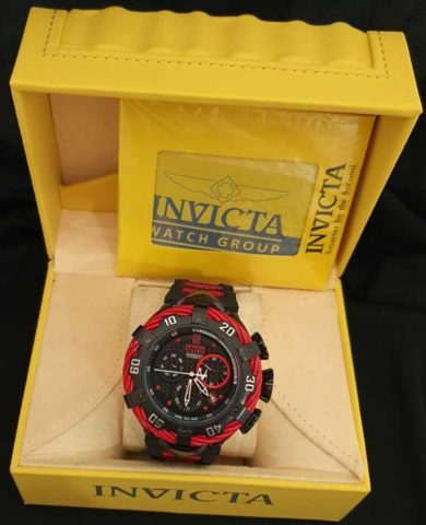 Invicta Reserve II baterai Rantai stainless steel 5cm black red
