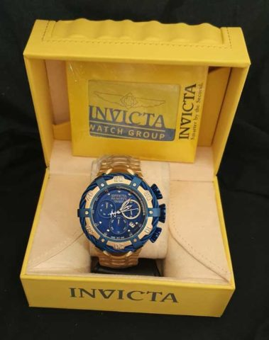 Invicta Reserve II baterai Rantai stainless steel 5cm gold blue