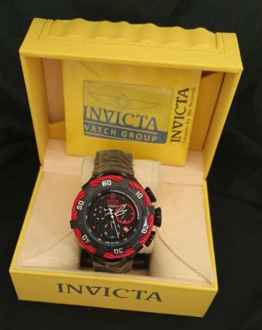 Invicta Reserve II baterai Rantai stainless steel 5cm red black