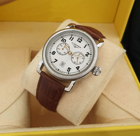Longines Aviation strap leather kw super grade AAA warna silver coklat 480x468 Jam Tangan Longines The Aviation II