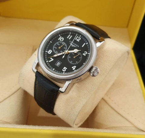 Longines Aviation strap leather kw super grade AAA warna silver hitam 480x456 Jam Tangan Longines The Aviation II