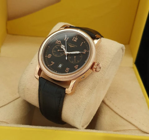 Longines Aviation strap leather kw super grade AAA4 2cm warna rosegold itam 480x452 Jam Tangan Longines The Aviation II