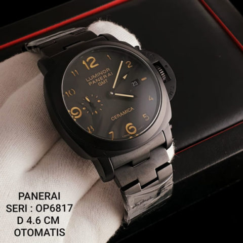 Luminor Panerai Ceramica KW Super Premium Rantai full black OP6817 All stainless steel Otomatis 4.6cm