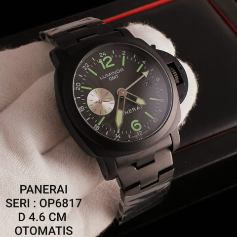 Luminor Panerai KW Super Premium Rantai full black dial green OP6817 All stainless steel Otomatis 4 6cm 480x480 Jam Tangan Luminor Panerai GMT Chain Automatic